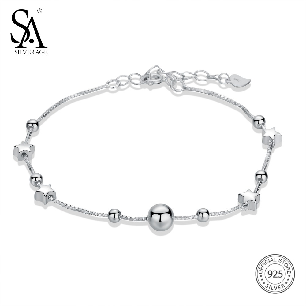 SA SILVERAGE 925 Sterling Silver Chain Bracelets & Bangles for Women 925 Silver Ball Chain Link Bracelets Star Charm Bracelet silver multi layers chain with leaf shape charm bracelets
