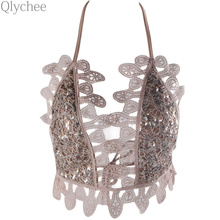 Qlychee Summer Sexy Women Top Elegant White Sequin Crochet Lace Crop Backless Short Halter Tops Party Camis Beachwear