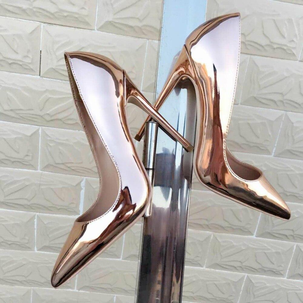 2018 Mode Bouche Profonde Or De Printemps Peu Hauts Avec Et Automne Miroir Solennelle Talons Nouveau Nouveaux Fins Keshangjia Pointu Chaussures Sexy HBwUdqxq