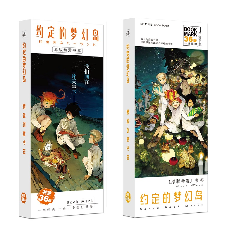 New 36Pcs/Set Anime The Promised Neverland Paper Bookmark Cartoon Book Holder Message Card Fans Gift