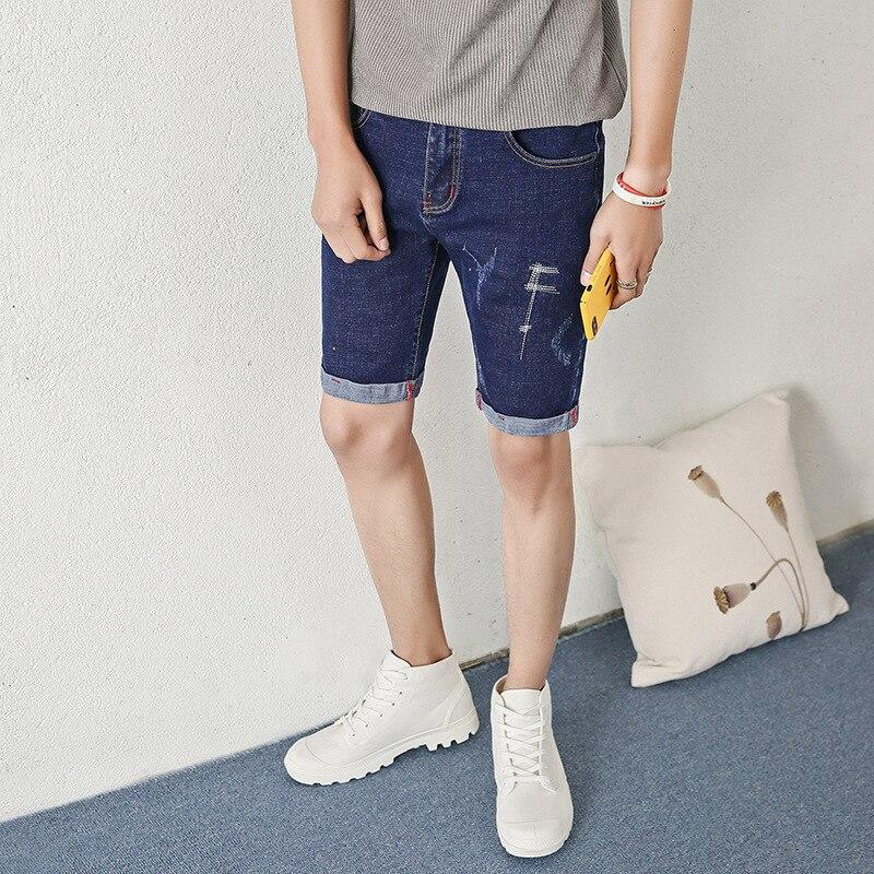 New summer men 's Stretch cotton jeans Korean elastic straight man' s fifth pants 808