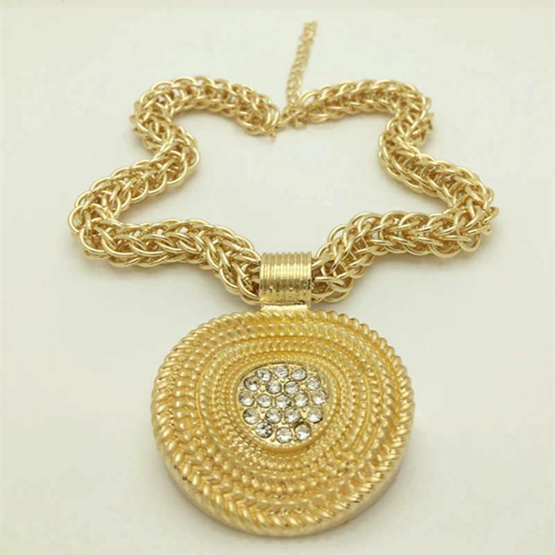 Königreich Ma Neue Mode Afrikanische Hochzeit Schmuck-Set Braut Gold Farbe Halskette Armband Ohrringe Ringe Sets