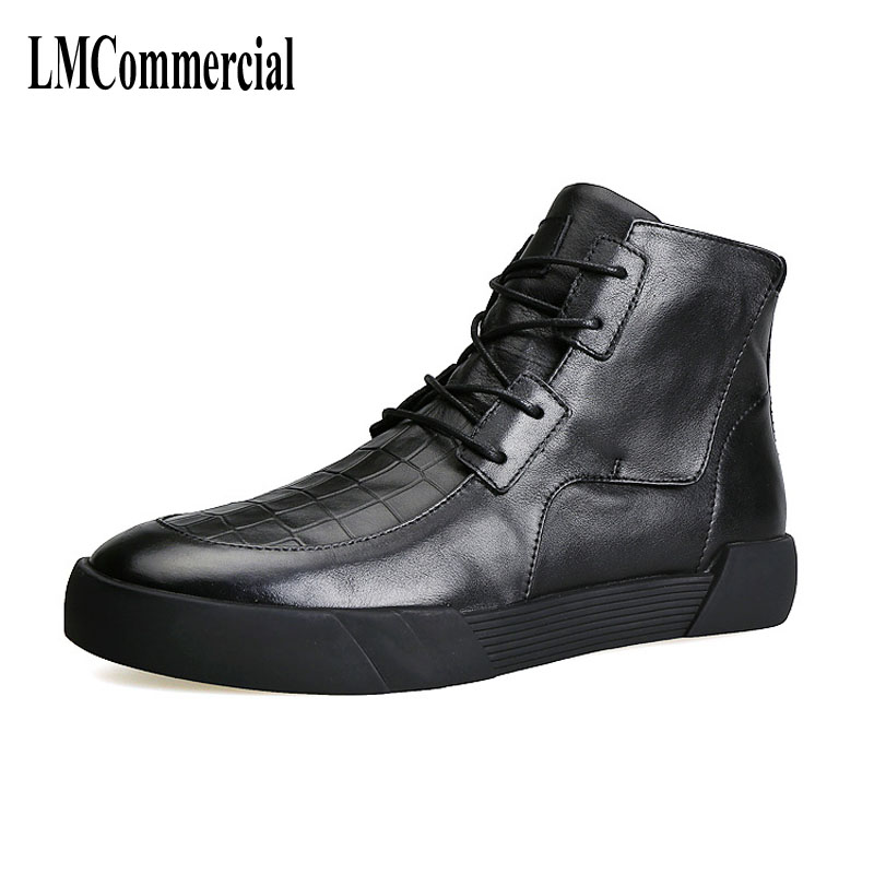 Winter new men's leather shoes, lace up, high boots,  cashmere  autumn winter British retro men shoes zipper leather shoes breat 2017 new autumn winter british retro men shoes zipper leather shoes breathable sneaker fashion boots men casual shoes