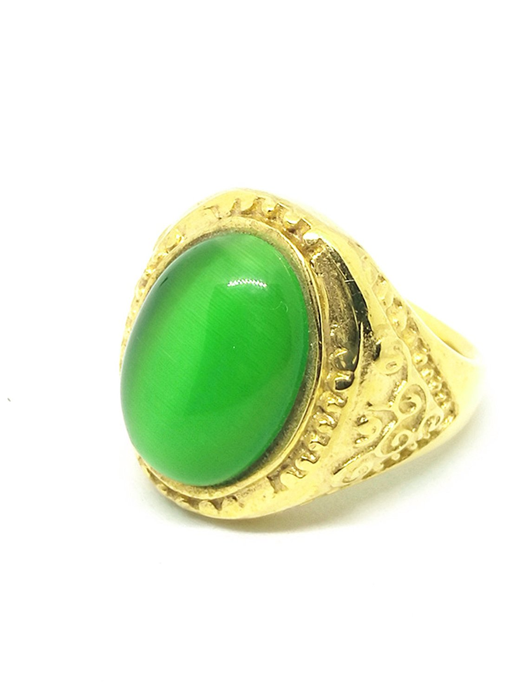 Mens Vintage Green Cat Eye Stone Natural Gemstone Ring-in