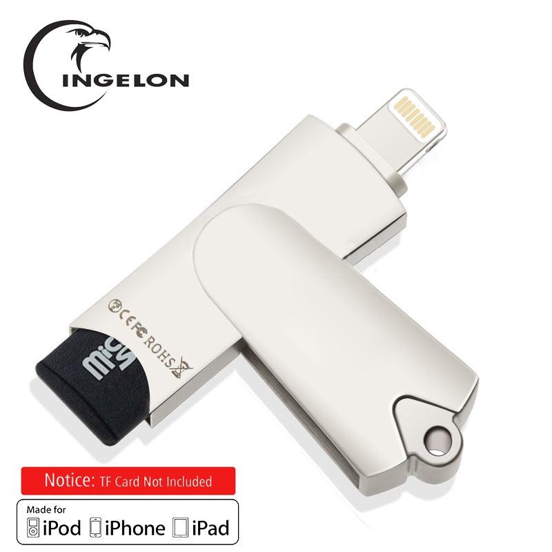 Ingelon MFi zertifikat MicroSDHC OTG Swivel Speicher Kartenleser Plus 8 gb oder 16 gb tf Karte für iPhone 6/ 7/8 iPad PC Mac Kartenleser