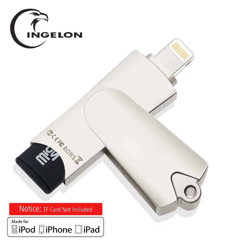 Ingelon mfi-контроллеров Lightning MicroSDHC OTG поворотный памяти cardreader плюс 8 ГБ или 16 ГБ TF карты для iPhone 6/ 7/8 IPad PC Mac чтения карт