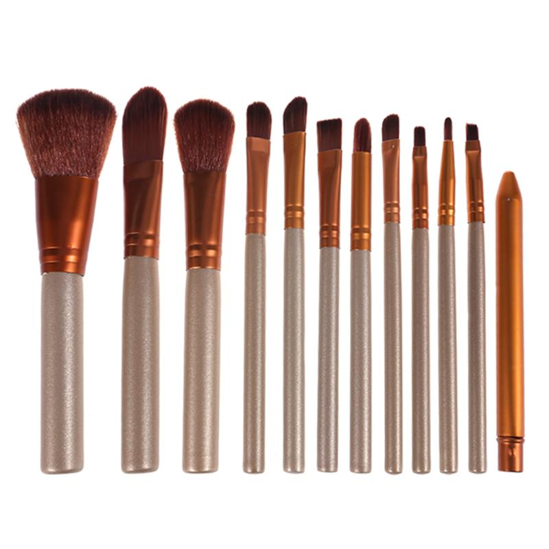 12Pcs/pack Makeup Brushes Tool Set Cosmetic Power Eye Shadow Foundation Blush Blending Beauty Make Up Brush Maquiagem Metal Box 7 60w round car led headlight with halo angel eye