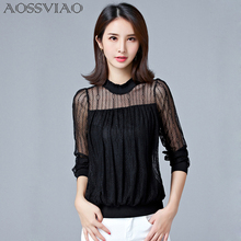 Sexy Lace Patchwork Women Blouse 2019 New Women Chiffon Top Long Sleeve Elastic Slim Turtleneck Shirts Plus Size Blusas Mujer turtleneck falbala patchwork plaid blouse