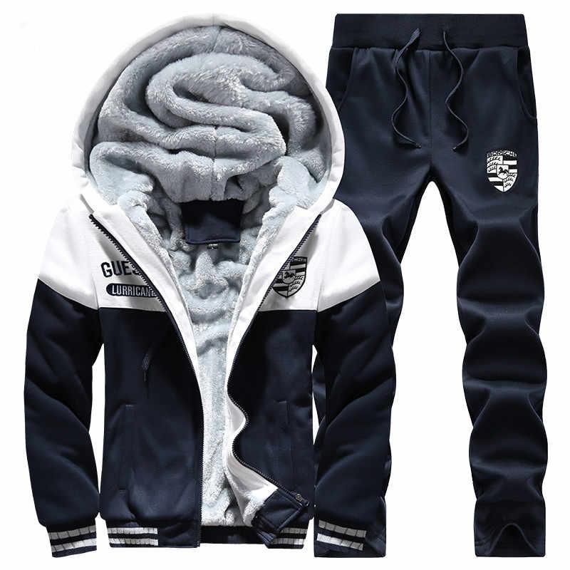 De piel de invierno sudaderas con capucha de lana chaqueta de los hombres, los hombres M-4XL chándal hombres Casual abrigo + pantalón 2 piezas Moletom Masculino Sudaderas hombres ropa