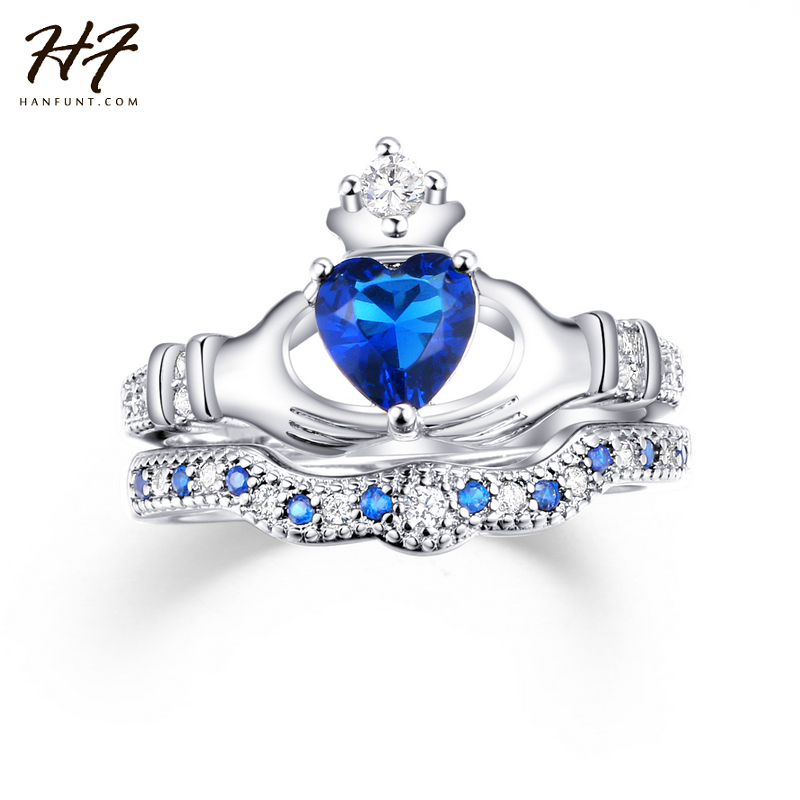 Exquisite Love Design Crown Hand Heart Clah Duh Claddagh Ring Set