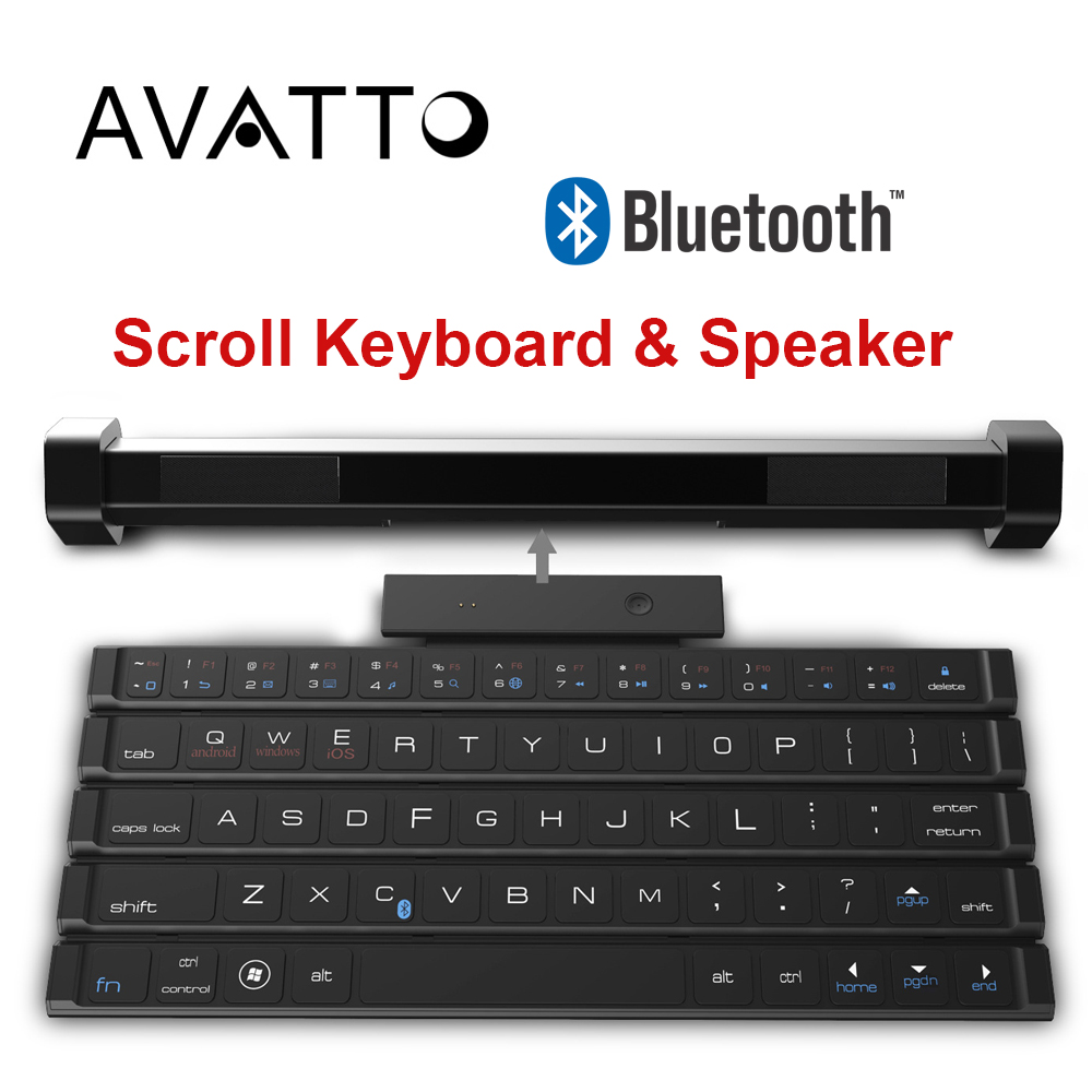 avatto 2 in 1 rollable folding wireless bluetooth keyboard and speaker for ios android windows. Black Bedroom Furniture Sets. Home Design Ideas