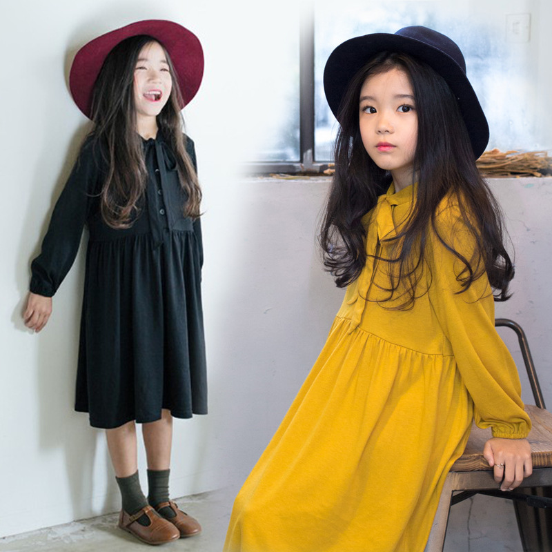 girl long shirts dresses casual 2017 autumn yellow black long sleeves Cotton ruffles Children dresses girls school clothing