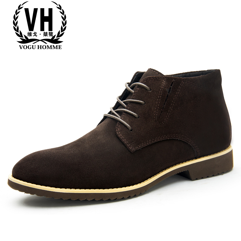 winter men boots leather boots and shoes frosted British high shoes leather velvet warm desert boots