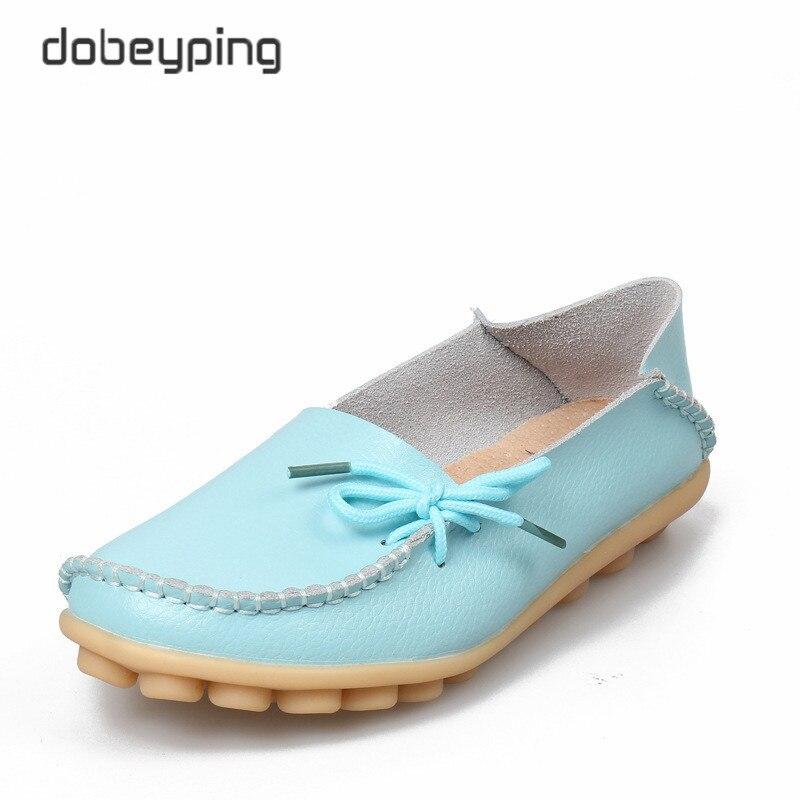 Nuevos zapatos de cuero Real para mujer mocasines de ocio suave zapatos de conducción Casual para mujer talla 35-44 en 24 colores