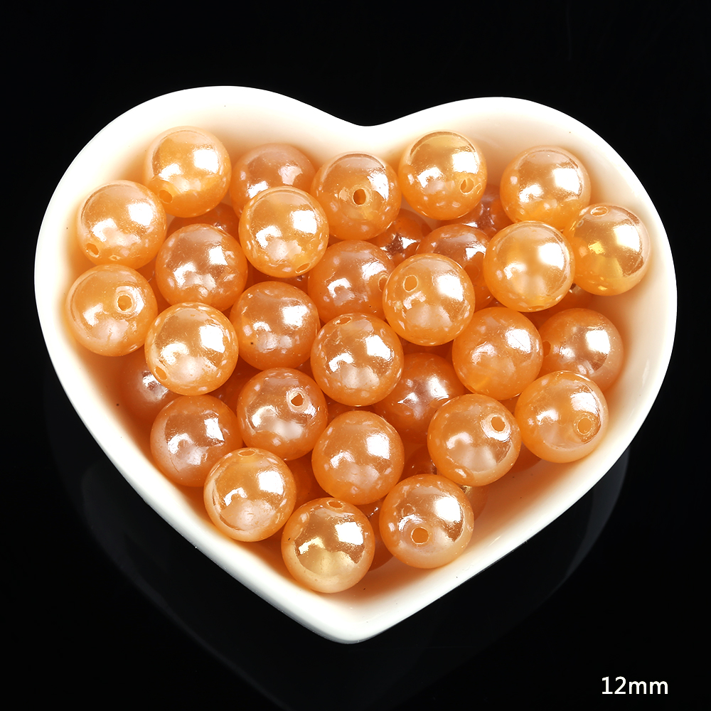 60pcs/50g 12mm High-grade Transparent Plating ABS Color Plastic Beads For DIY Making Jewelry Colorful Imitation Pearl Round Bead