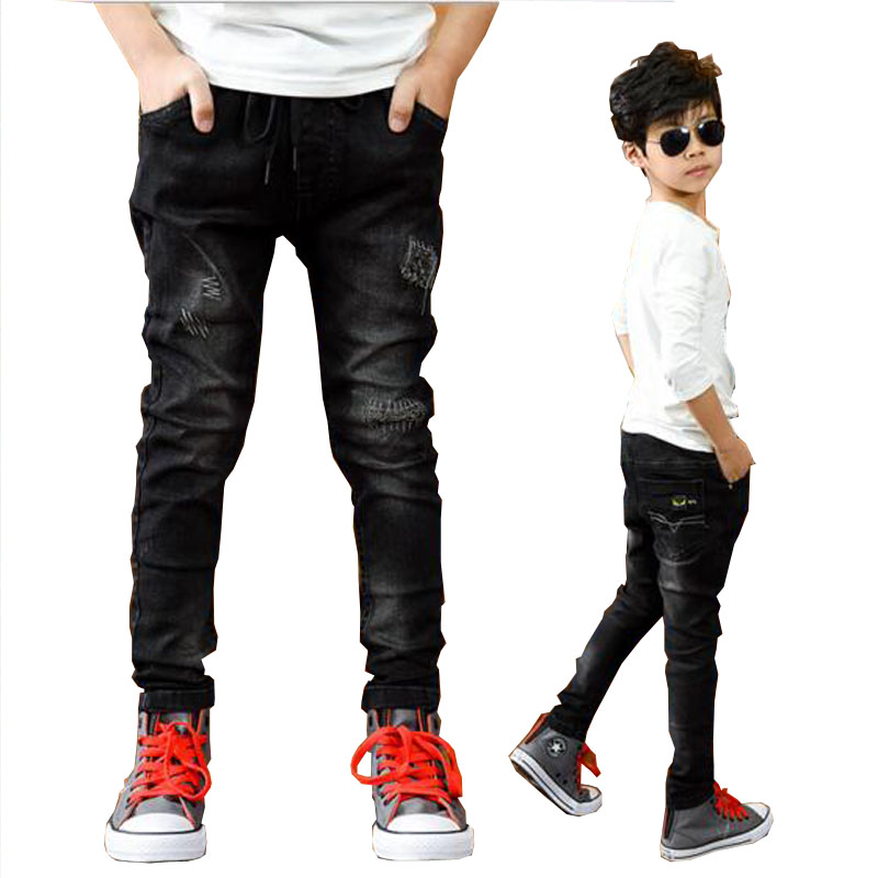 Boys pants spring autumn black jeans kids casual trousers boys jeans teenage trousers children casual pants 5-13 Y boys outwear(China)