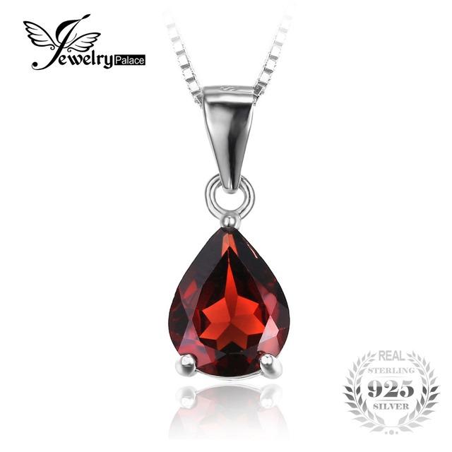 Jewelrypalace clássico sedutor 2.2ct pedra natural red garnet 925 prata pingentes para mulheres moda sem uma cadeia