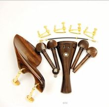 1 Set Brand New Natural Ebony Wood 4/4 Violin Accessories Chin Rest With Golden Clamps Installed Tailpiece Strings Tuners