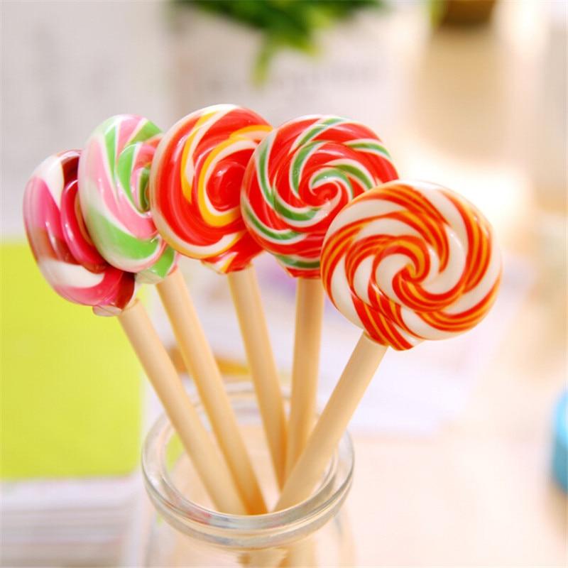 1PC Cute Candy Style Lollipop Ballpoint Pen Kawaii Ballpoint Pens Stationery Kids Gift School Office Supplies Drop Shipping