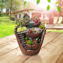 Креативный микро Ландшафтный цветочный горшок суккуленты растения горшок держатель висячие садовые цветы корзины дом бонсай садовые горшки