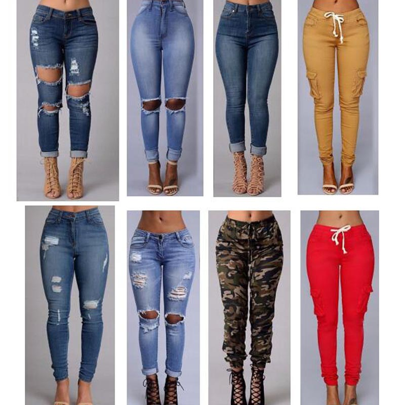 2016 sexy fashion new style women high waist jeans Full Length Ripped jeans Skinny for lady ...