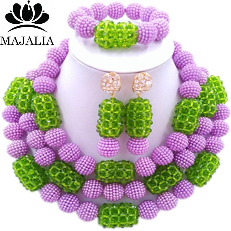 все цены на Majalia Fashion Charming Nigerian Wedding African Jewelry Set Purple and Green Crystal Necklace Bride Jewelry Sets 3SZ050 онлайн