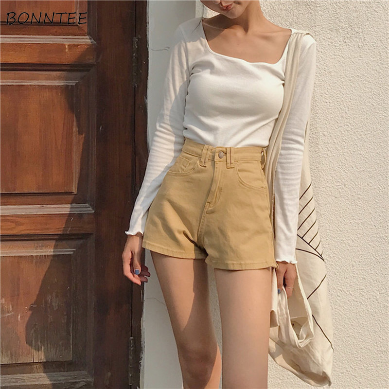 Shorts Women Summer Retro High Waist Skinny Simple All-match Trendy Womens High Quality Slim Female Solid Colour Pockets Zipper