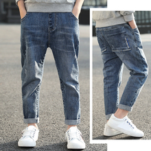 DIIMUU Teenage Child Boys Jeans Solid Casual Mid Elastic Waist Light Washed Straight Denim Pants Kids Boy Clothes Long Trousers hoo teenage children s clothing male child jeans spring and autumn pants child trousers straight casual child trousers