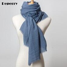 Denim Blue Cotton Scarf Women Fahion Femme Hijab Shawl  Wrap Large Foulard Solid Color Warm Spring Winter Brand 180*85cm