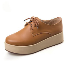 2016 New Arrival Women Shoes Comfortable Soft Genuine Leather Thick Shoes Lace Up Zapatos Mujer Plataforma Chaussures Femme