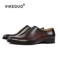 VIKEDUO 2018 новые летние туфли оксфорды для мужчин Винтаж из натуральной кожи Свадебные офисные туфли на официальное событие мужской обуви ручн