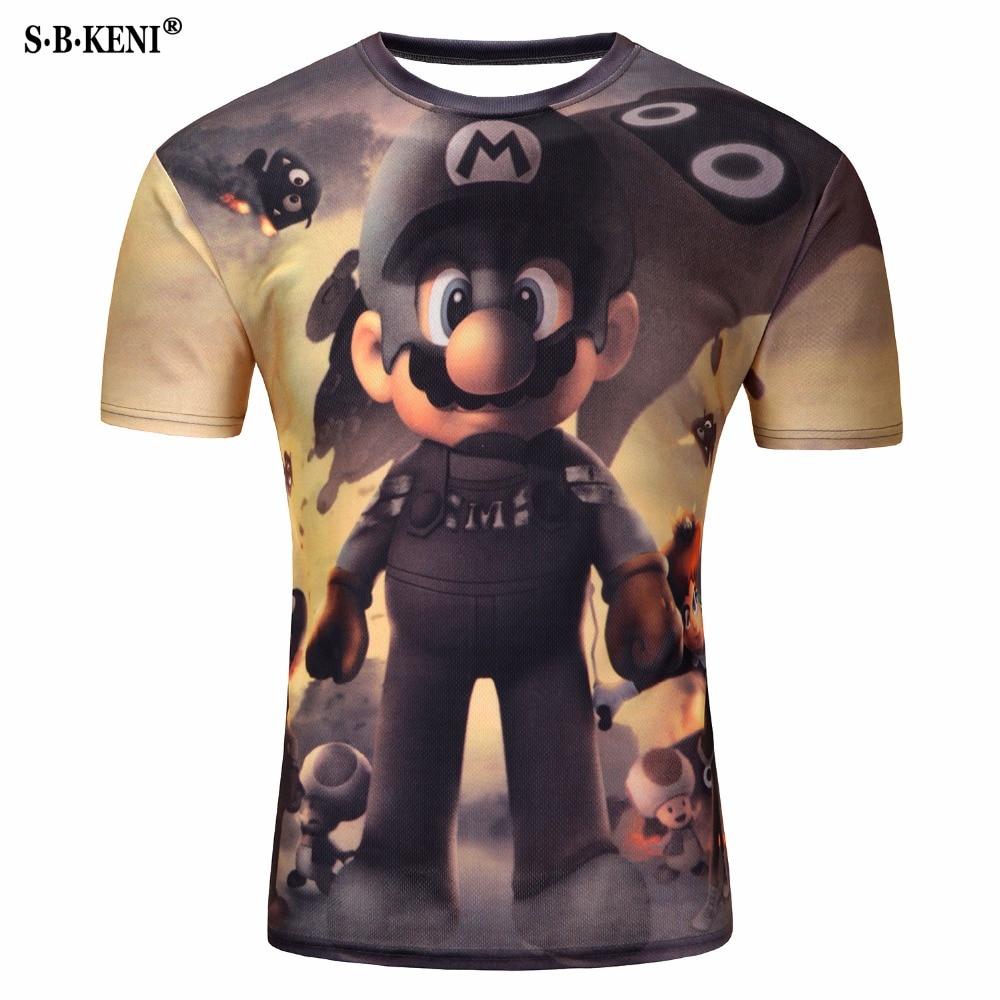 2019 New 3D Short Sleeve   T  -  Shirt   printed creative cat   t     shirt   men's Mario /novelty/pizza cat/tree tee tops M-4XL