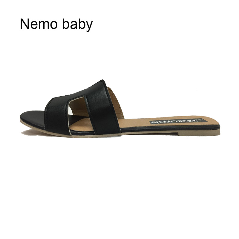 New 2017 Fashion H Brand Genuine Soft Patent Leather Women Flats Sandals Loafers Slippers Shoes For