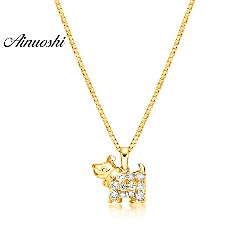 AINUOSHI 10K Solid Yellow Gold Pendant Lovely Puppy Pendant SONA Diamond Women Men Children Gold Jewelry 1.9g Separate Pendant k9 puppy gold