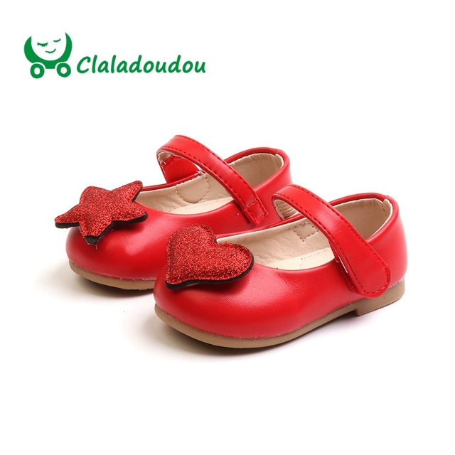 8b6a83e62846 Claladoudou 11.5-15.5CM Brand Fashion Girls AB Version Pu Leather Shoes  Cute Bling Twinkle Red Round Toe Shoes Baby Soft Flats