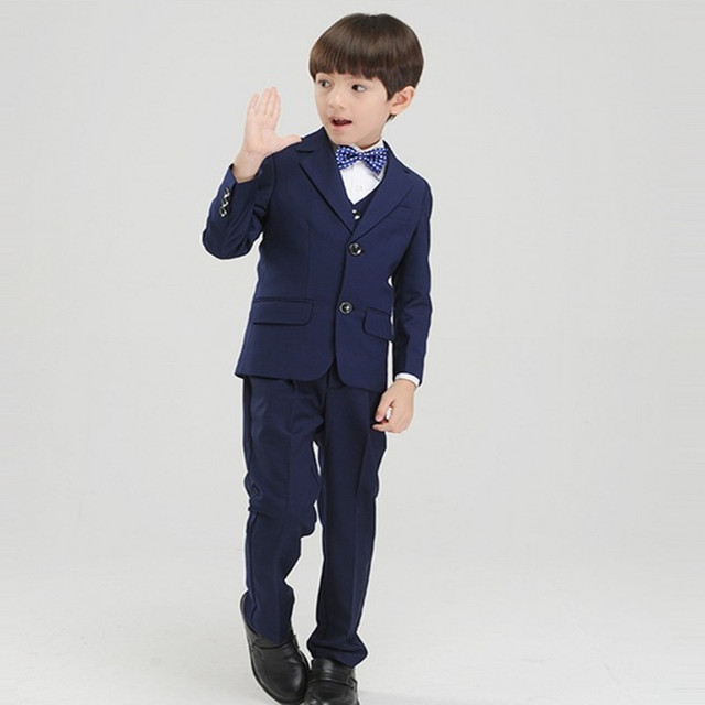 Custom Made Boy Tuxedos Notch Lapel Children Suit Two Buttons Blue ...