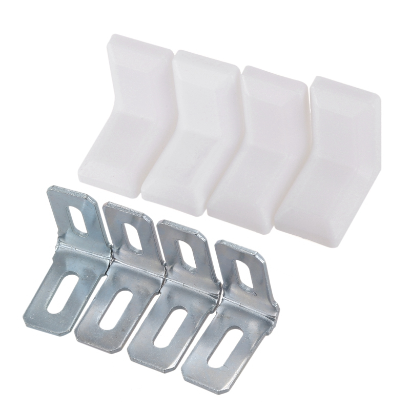 Buy Cabinet 28mmx28mmx19mm Metal Plastic L Angle Bracket White 4Pcs for only 1.84 USD