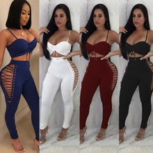 42d6c5148a2 Punk Sexy Women Bodycon Jumpsuit Two Pieces Lace Up Summer Rompers Women  Full Length Club Bodysuit