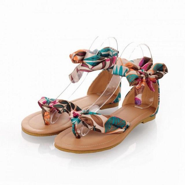 Sandales d été Grande Taille Chaussures 61-62 Mètres Bohème Arc Sandales  Ruban Sandales c5fd72cb516