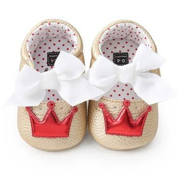Baby Girl PU Leather Shoes Kid Moccasins First Walkers Crown Bow Soft Soled Non-slip Footwear Crib Shoes 1
