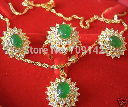 fashion jewelry AAA green jade 18K GP necklace pendant earring ring set Silver Gold Plated Set Wholesale