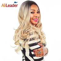 Alileader Synthetic Wigs Ombre Blonde Brown Purple Silvery Body Wave Wig For Black Women Long 26