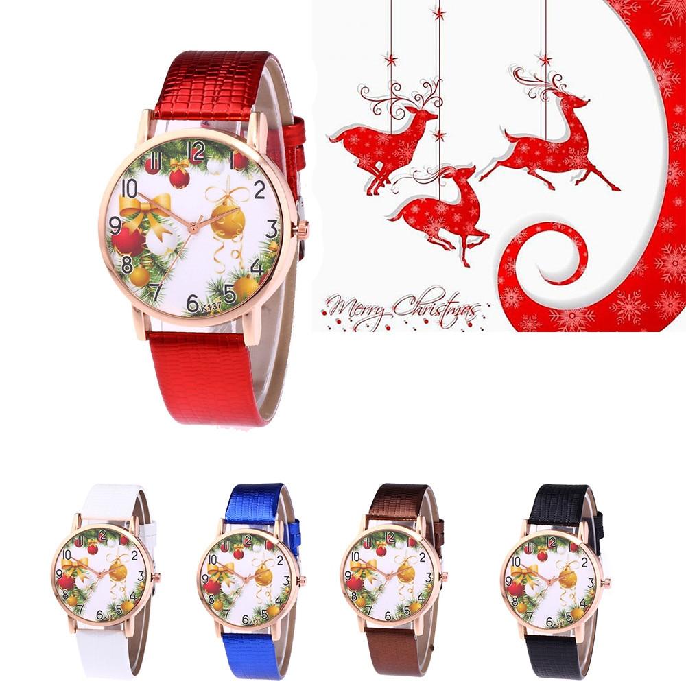 women watches bracelet watch ladies Fashion Christmas Pattern Quartz Analog Watches Leather Band Wrist Watch montre femme