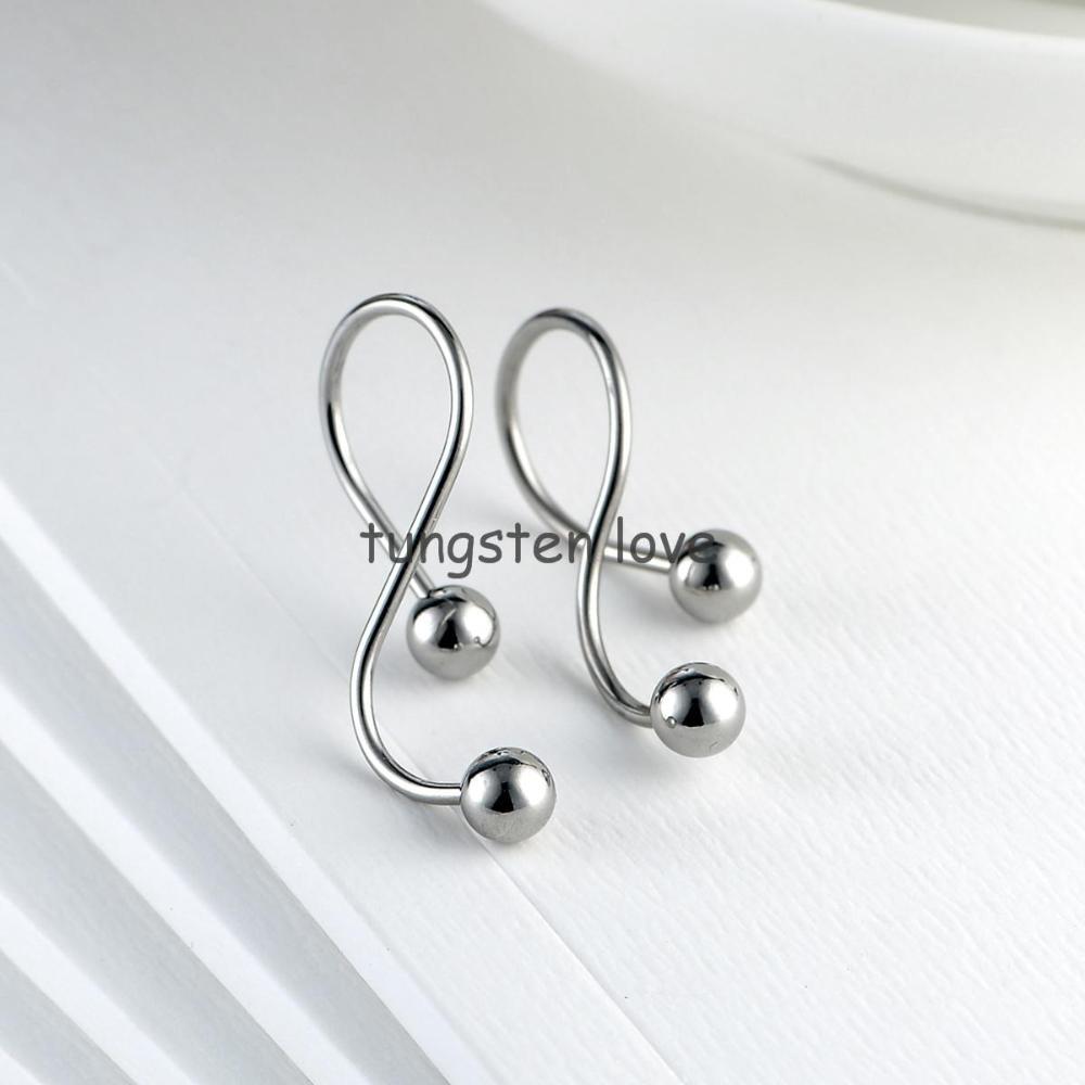 15mm S Twisted Type Stainless Steel Earrings Rhinestones Balls  Piercing Cartilage Ear Studs Screw Back