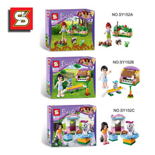 3PCS/lot Girl DIY Assembling building blocks educational scenes Series Action toy Figures gift for boy kids toys SY152