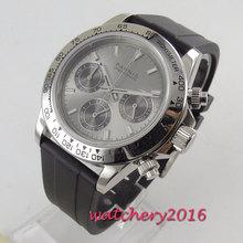 new arrive 39mm PARNIS Grey dial quartz mens watch solid case full Chronograph стоимость