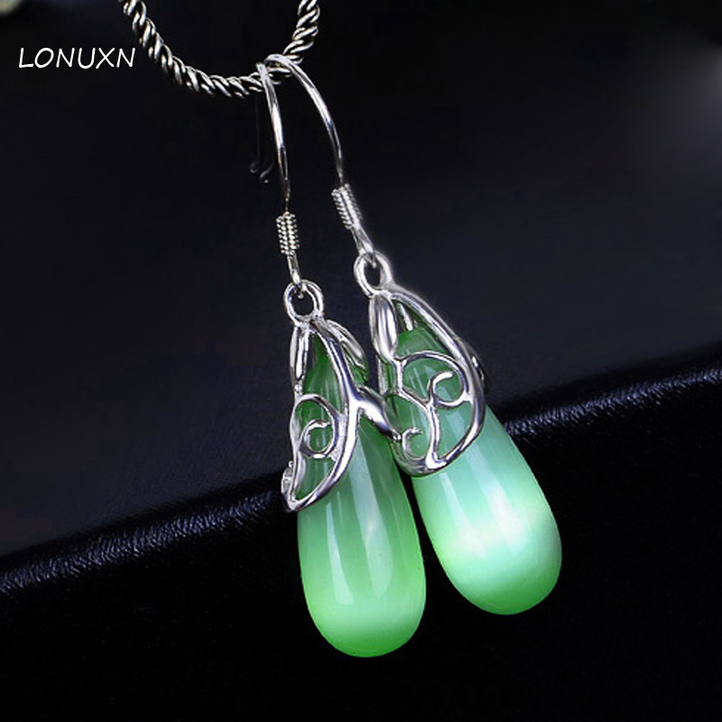 2 colors 925 Sterling silver women jewelry fashionable Green Opal Earrings white tassel drop female Earrings girls lovers gift e037 women s fashionable rhinestone studded pendant earrings gold green pair