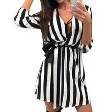 LASPERAL 2018 in Bianco E Nero Sexy Delle Donne Scollo A V A Righe Vestito  Dalla Fasciatura di Estate Spiaggia Allentato Casuale. c12b8512ecc