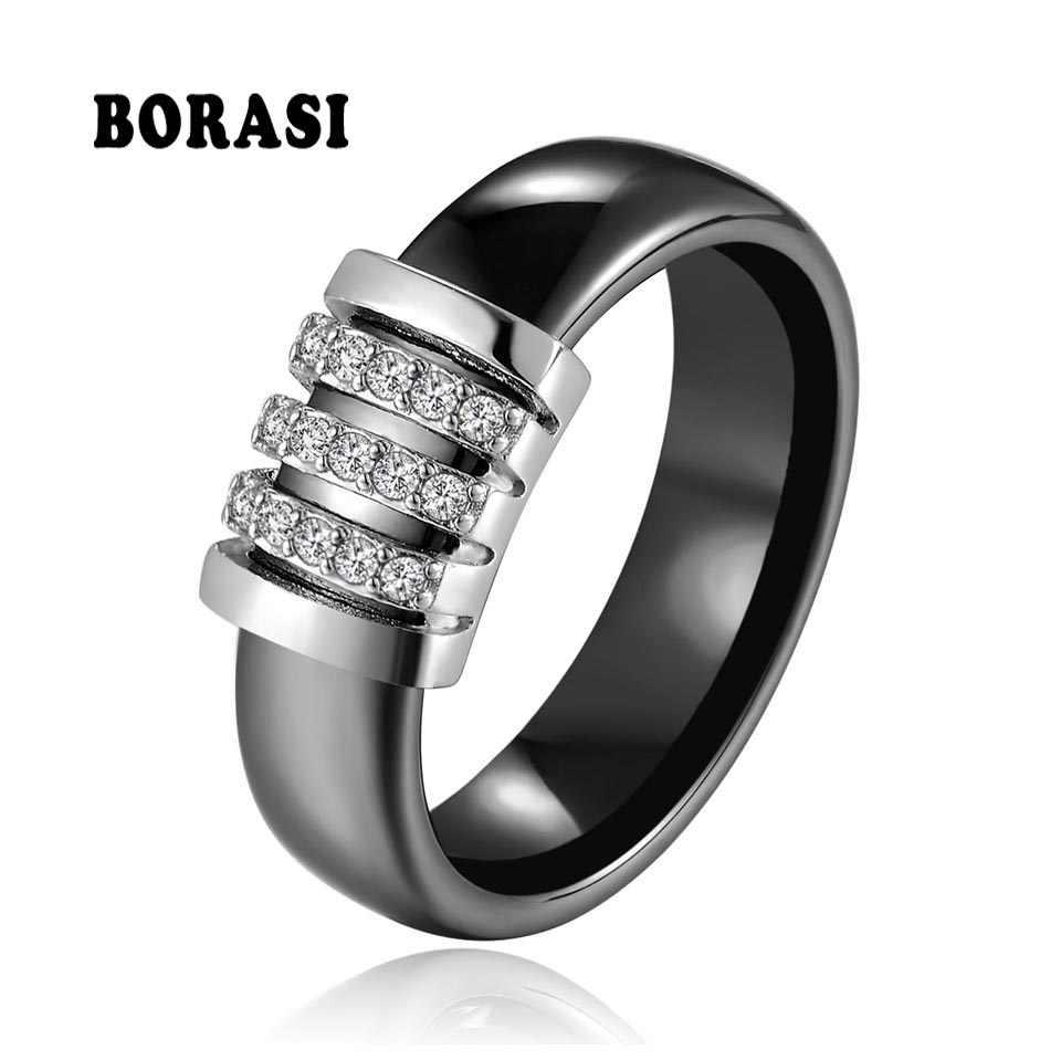 ใหม่ที่ไม่ซ้ำกันแหวน 6 มม. สีดำแหวนเซรามิคสีขาวสำหรับผู้หญิงอินเดียหินคริสตัล Comfort งานแต่งงานแหวนยี่ห้อเครื่องประดับ