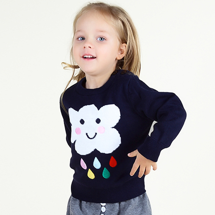 100% Baumwolle Stickerei Regen Baby Jungen/mädchen Wolke Pullover Niedlichen Kinder Strickpullover High Street Kinder Gestrickte Pullover üPpiges Design